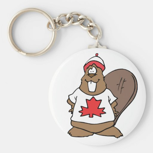 Cute Canadian Beaver Basic Round Button Keychain