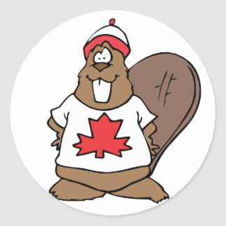 Cute Canadian Beaver Classic Round Sticker
