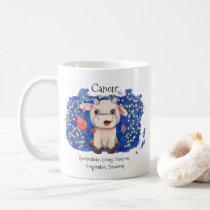 Cute Cancer Crab Watercolor Bull Zodiac Monogram Coffee Mug