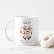 Cute Cancer Crab Watercolor Bull Zodiac Traits Coffee Mug