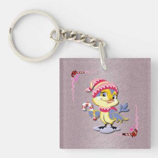 Cute Candy Cane Birdie Key Chain