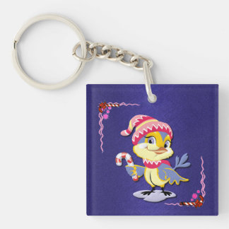 Cute Candy Cane Birdie Key Chain