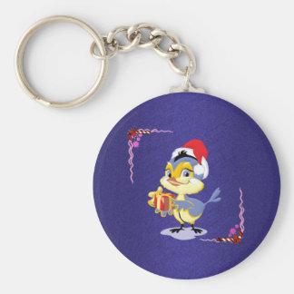 Cute Candy Cane Birdie Keychain