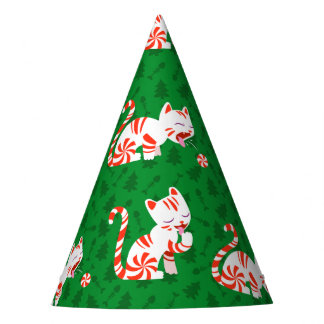 Cute Candy Cane Cat Party Hat
