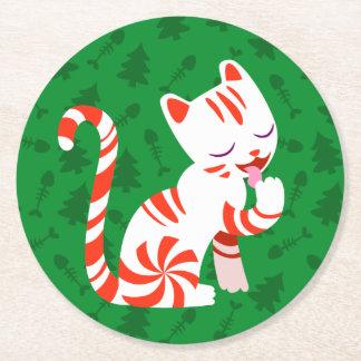 Cute Candy Cane Cat Round Paper Coaster