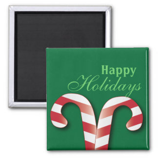 Cute Candy Canes Happy Holidays Magnet