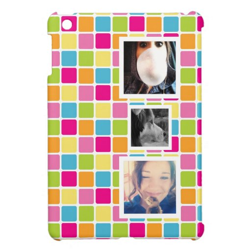 Cute Candy Colors 3 Photo Personalized Cover For The iPad Mini