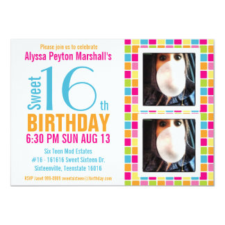 Cute Candy Colors Photo Sweet Sixteen 4.5x6.25 Paper Invitation Card