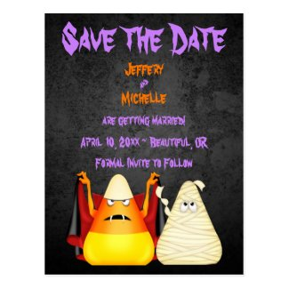 Cute Candy Corn Halloween Wedding Save the Date Postcard
