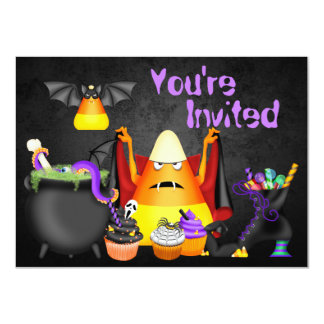 Cute Candy Corn Spooky Treats Halloween Birthday 4.5x6.25 Paper Invitation Card