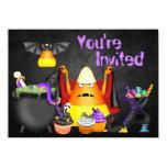 Cute Candy Corn Spooky Treats Halloween Birthday 4.5x6.25 Paper Invitation Card