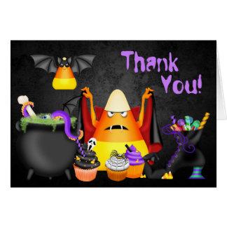 Cute Candy Corn Spooky Treats Halloween Thank You Card