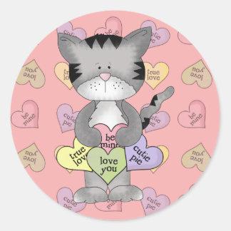 cute candy heart kitty cat classic round sticker