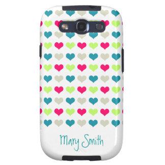 Cute Candy Hearts Custom Name Samsung Galaxy SIII Cases