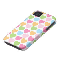 Cute candy hearts girly iPhone 4 case for girls