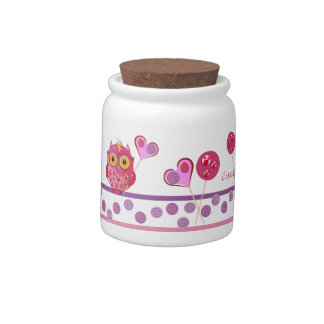 Cute Candy Jar with Lollipop Owls