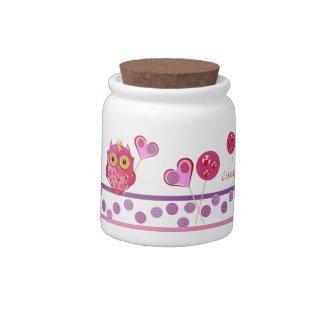 Cute Candy Jar with Lollipop Owls