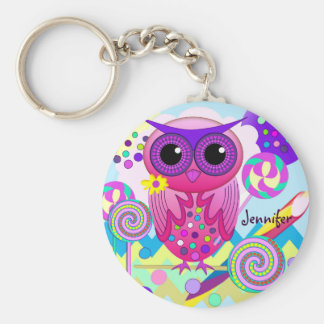 Cute Candy Owl, Lollipops & Custom Name Keychain Key Chain