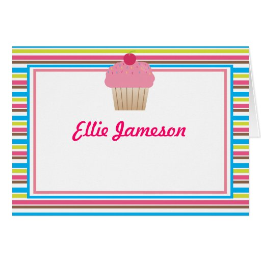 Cute Candy Striped Cupcake Notecards Greeting Card