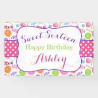 Cute Candy Sweet 16 Birthday Party Banner