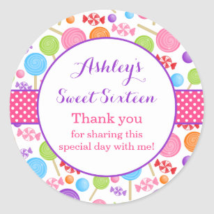 8845b6cc61 Cute Candy Sweet 16 Birthday Party Favor Classic Round Sticker