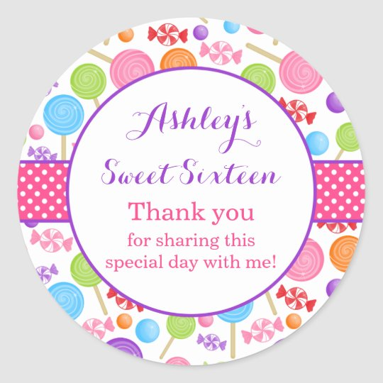 Cute Candy Sweet 16 Birthday Party Favor Classic Round Sticker ...