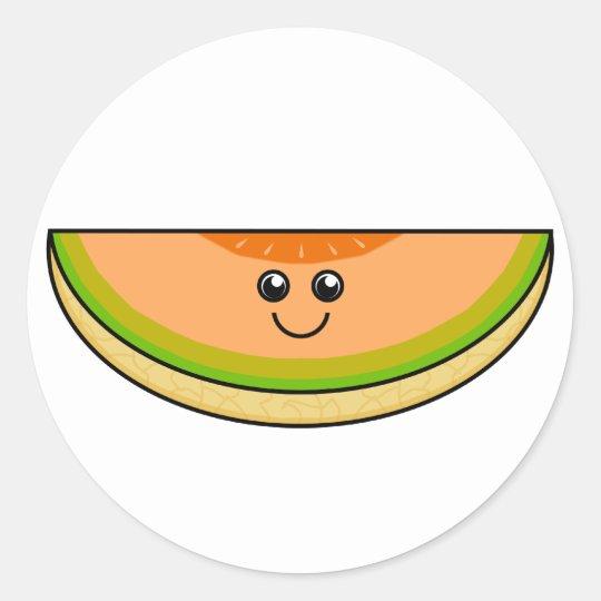 Cute Cantaloupe Classic Round Sticker