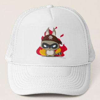 Cute cap pirate raccoon cartoon character fire hat