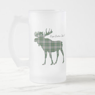 Cute Cape Breton Island moose tartan frosted mug