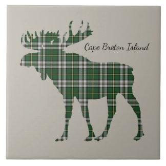 Cute Cape Breton Island moose tartan  tile