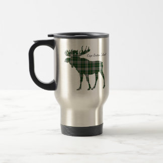 Cute Cape Breton Island moose tartan travel mug