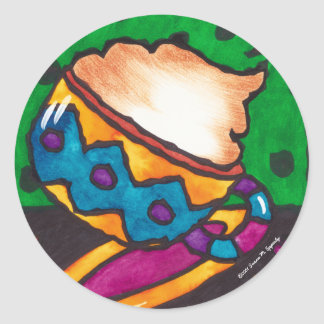 Cute Cappuccino Art Illustration by Susan Epperly Classic Round Sticker