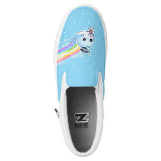 Cute captain narwhal with rainbow Slip-On sneakers