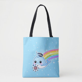 Cute captain narwhal with rainbow tote bag