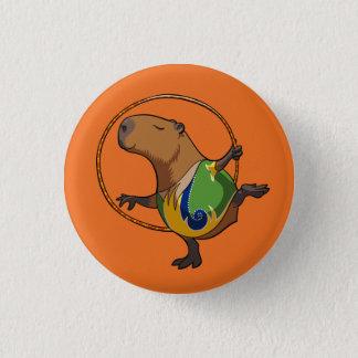 Cute Capybara Rhythmic Gymnastics Hoop Cartoon Button