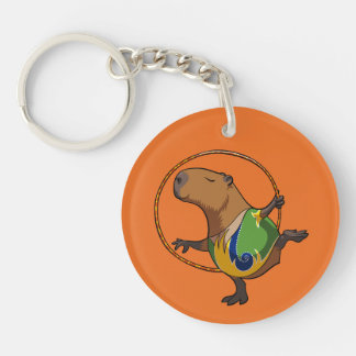 Cute Capybara Rhythmic Gymnastics Hoop Cartoon Keychain