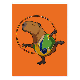 Cute Capybara Rhythmic Gymnastics Hoop Cartoon Postcard