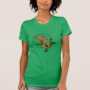 Cute Capybara Rhythmic Gymnastics Hoop Cartoon T-Shirt