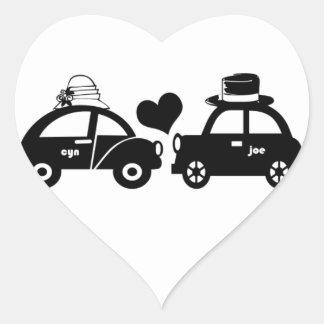 Cute car couple heart sticker