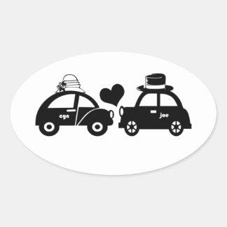 Cute car couple oval sticker