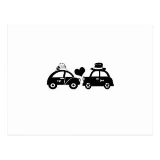 Cute car couple postcard