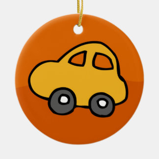 Cute CAR Double-Sided Ceramic Round Christmas Ornament