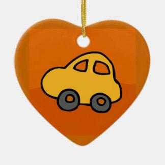Cute CAR Double-Sided Heart Ceramic Christmas Ornament