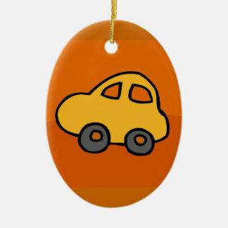 Cute CAR Double-Sided Oval Ceramic Christmas Ornament