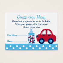 Cute Car Guess How Many Cards Baby Shower Game