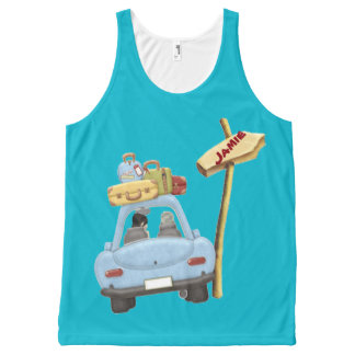 Cute car road trip with added name All-Over-Print tank top