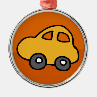 Cute CAR Round Metal Christmas Ornament
