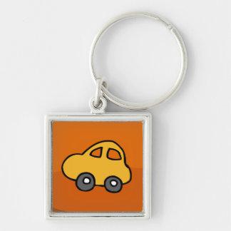 Cute CAR Silver-Colored Square Keychain