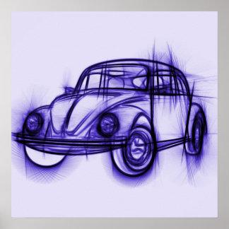 Cute Car Sketch in Purple Poster