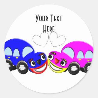 Cute Car Themed Fun Wedding Classic Round Sticker